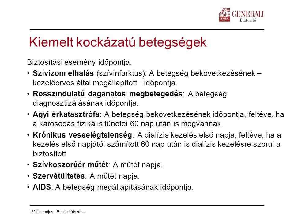 2011. május Buzás Krisztina Kiemelt kockázatú betegségek Biztosítási esemény időpontja: Szívizom elhalás (szívinfarktus): A betegség bekövetkezésének