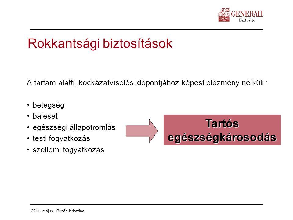 2011. május Buzás Krisztina Rokkantsági biztosítások A tartam alatti, kockázatviselés időpontjához képest előzmény nélküli : betegség baleset egészség