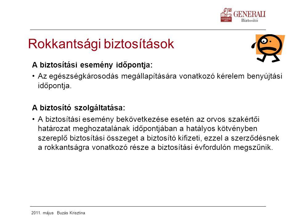 2011. május Buzás Krisztina A biztosítási esemény időpontja: Az egészségkárosodás megállapítására vonatkozó kérelem benyújtási időpontja. A biztosító