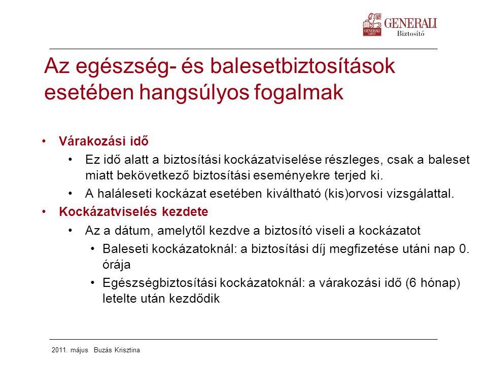 2011. május Buzás Krisztina Várakozási idő Ez idő alatt a biztosítási kockázatviselése részleges, csak a baleset miatt bekövetkező biztosítási esemény