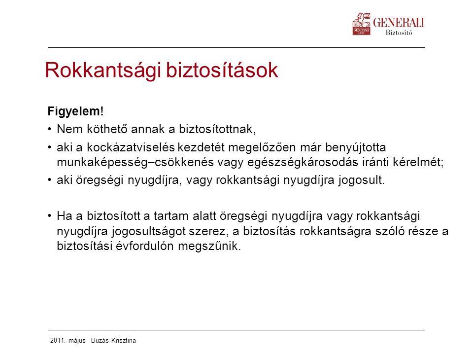 2011. május Buzás Krisztina Figyelem! Nem köthető annak a biztosítottnak, aki a kockázatviselés kezdetét megelőzően már benyújtotta munkaképesség–csök