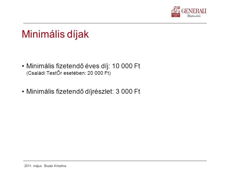 2011. május Buzás Krisztina Minimális díjak Minimális fizetendő éves díj: 10 000 Ft (Családi TestŐr esetében: 20 000 Ft) Minimális fizetendő díjrészle