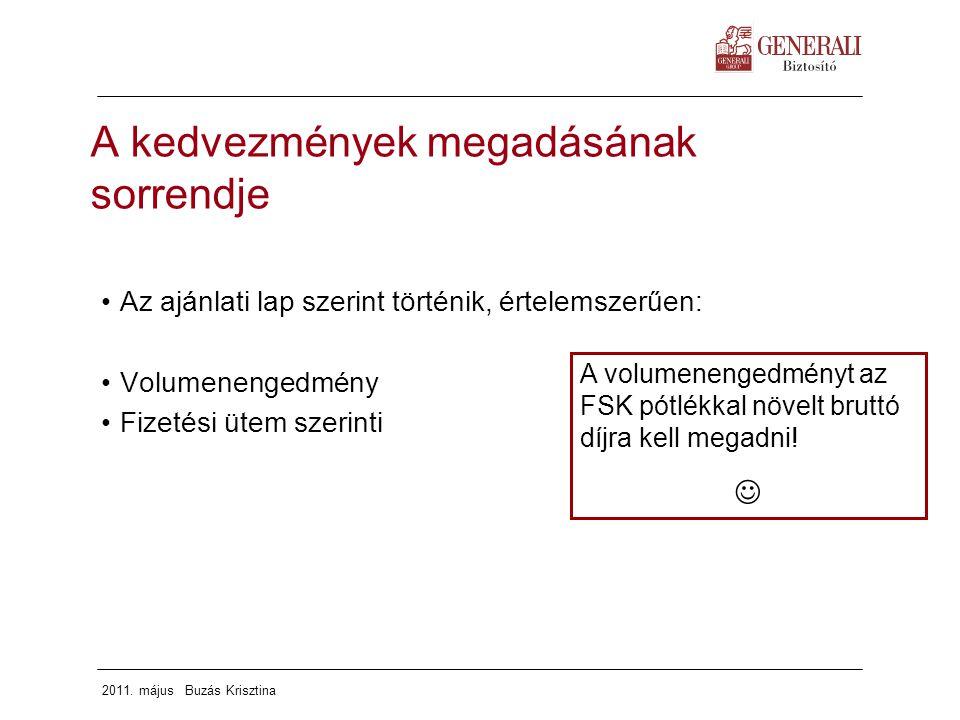 2011. május Buzás Krisztina A kedvezmények megadásának sorrendje Az ajánlati lap szerint történik, értelemszerűen: Volumenengedmény Fizetési ütem szer