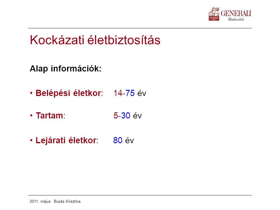 2011. május Buzás Krisztina Kockázati életbiztosítás Alap információk: Belépési életkor: 14-75 év Tartam: 5-30 év Lejárati életkor: 80 év