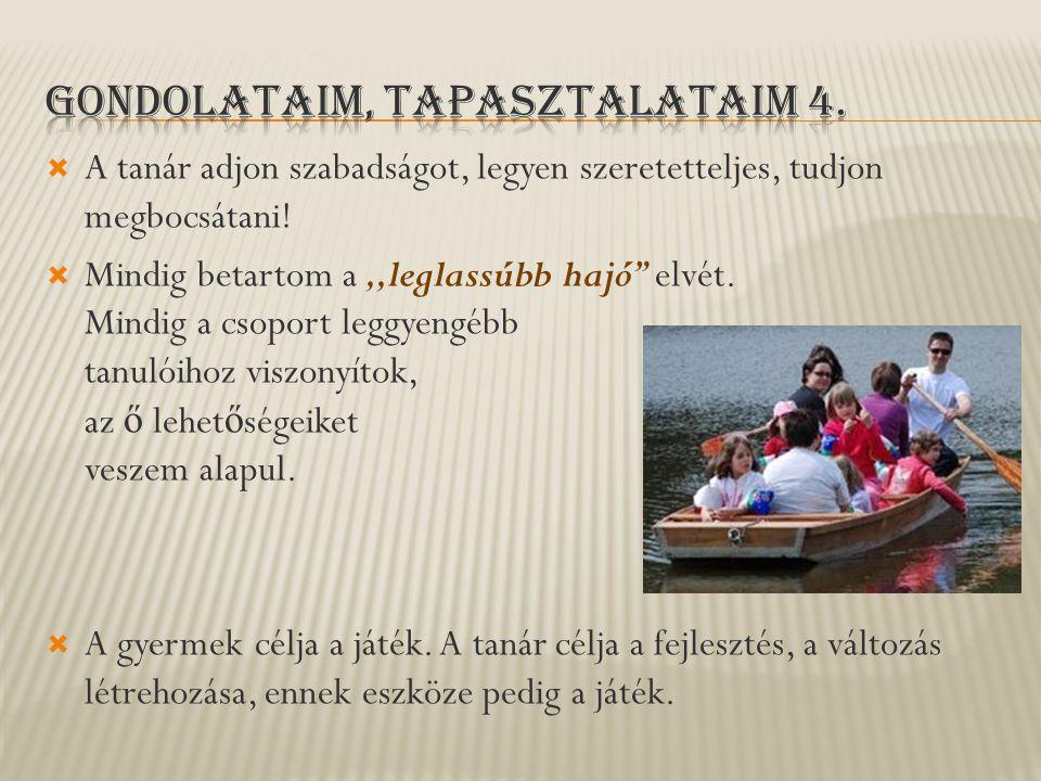 """ A tanár adjon szabadságot, legyen szeretetteljes, tudjon megbocsátani!  Mindig betartom a,,leglassúbb hajó"""" elvét. Mindig a csoport leggyengébb tan"""