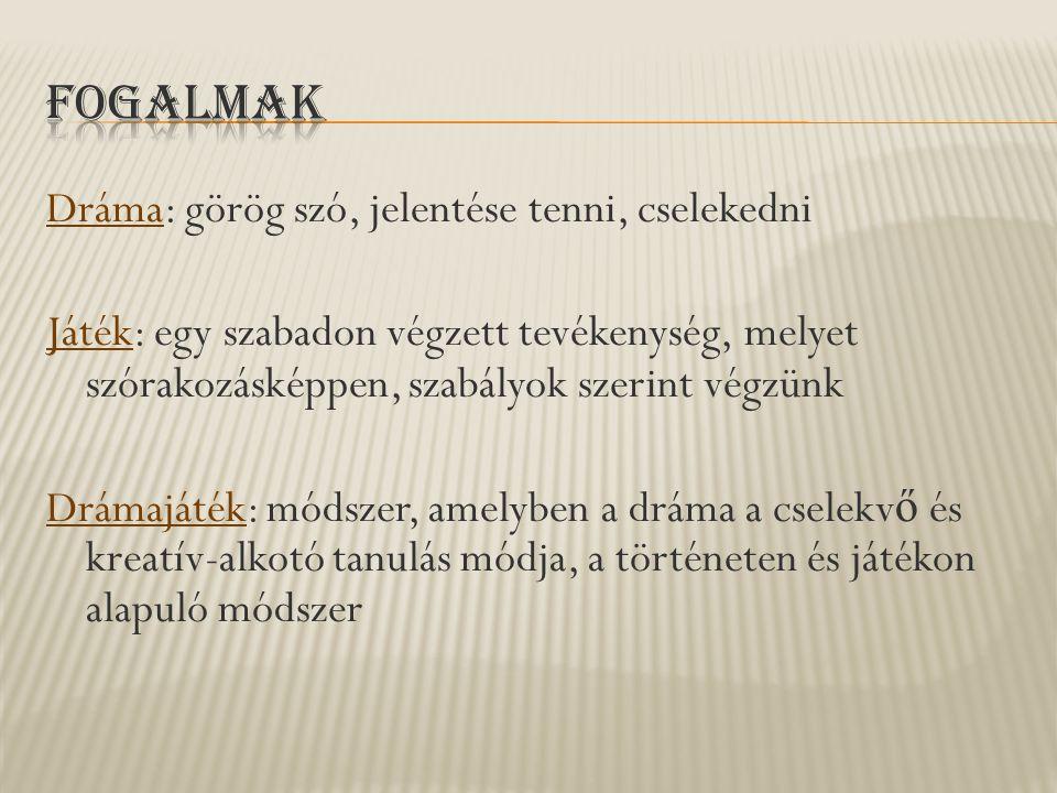 Dráma: görög szó, jelentése tenni, cselekedni Játék: egy szabadon végzett tevékenység, melyet szórakozásképpen, szabályok szerint végzünk Drámajáték: