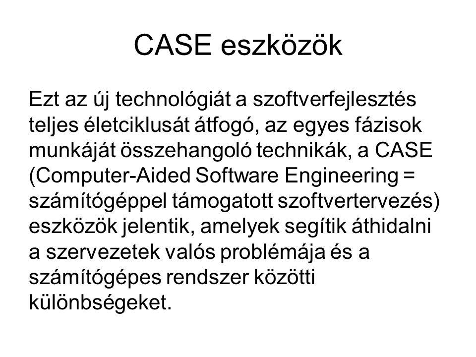 CASE eszközök Ezt az új technológiát a szoftverfejlesztés teljes életciklusát átfogó, az egyes fázisok munkáját összehangoló technikák, a CASE (Comput