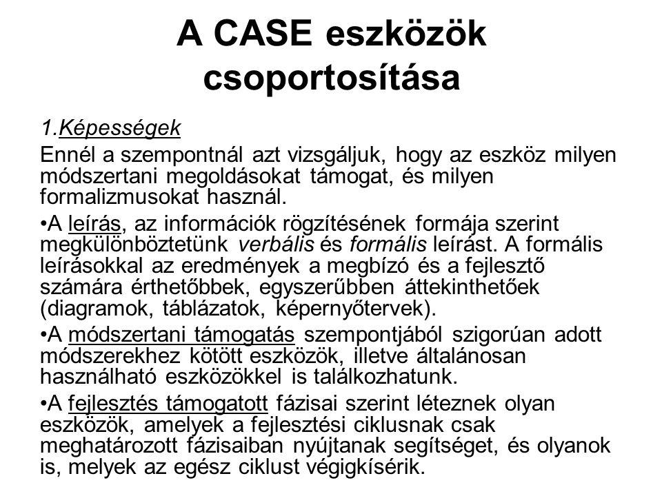 A CASE eszközök csoportosítása 1.Képességek Ennél a szempontnál azt vizsgáljuk, hogy az eszköz milyen módszertani megoldásokat támogat, és milyen form