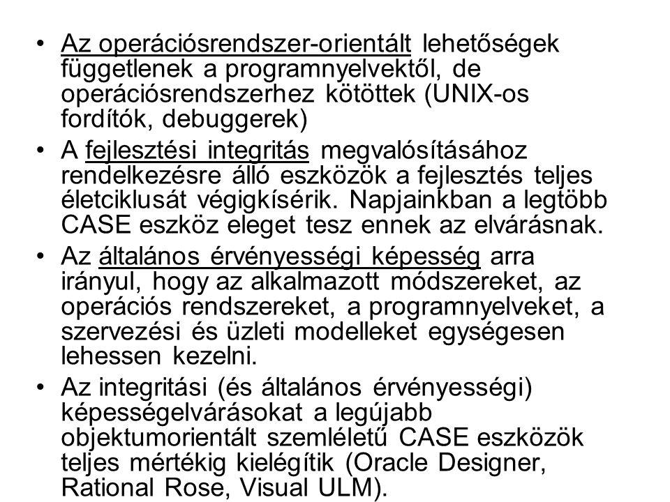 Az operációsrendszer-orientált lehetőségek függetlenek a programnyelvektől, de operációsrendszerhez kötöttek (UNIX-os fordítók, debuggerek) A fejleszt