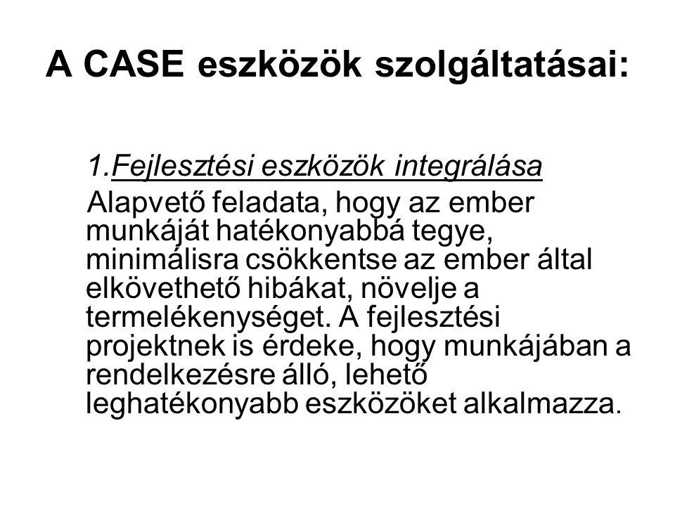 A CASE eszközök szolgáltatásai: 1.Fejlesztési eszközök integrálása Alapvető feladata, hogy az ember munkáját hatékonyabbá tegye, minimálisra csökkents