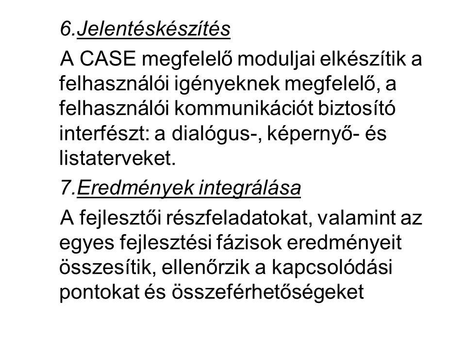 6.Jelentéskészítés A CASE megfelelő moduljai elkészítik a felhasználói igényeknek megfelelő, a felhasználói kommunikációt biztosító interfészt: a dial