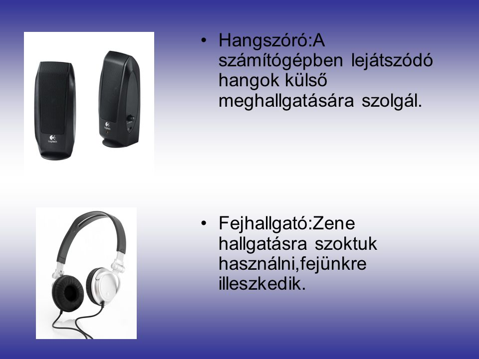 Hangszóró:A számítógépben lejátszódó hangok külső meghallgatására szolgál.