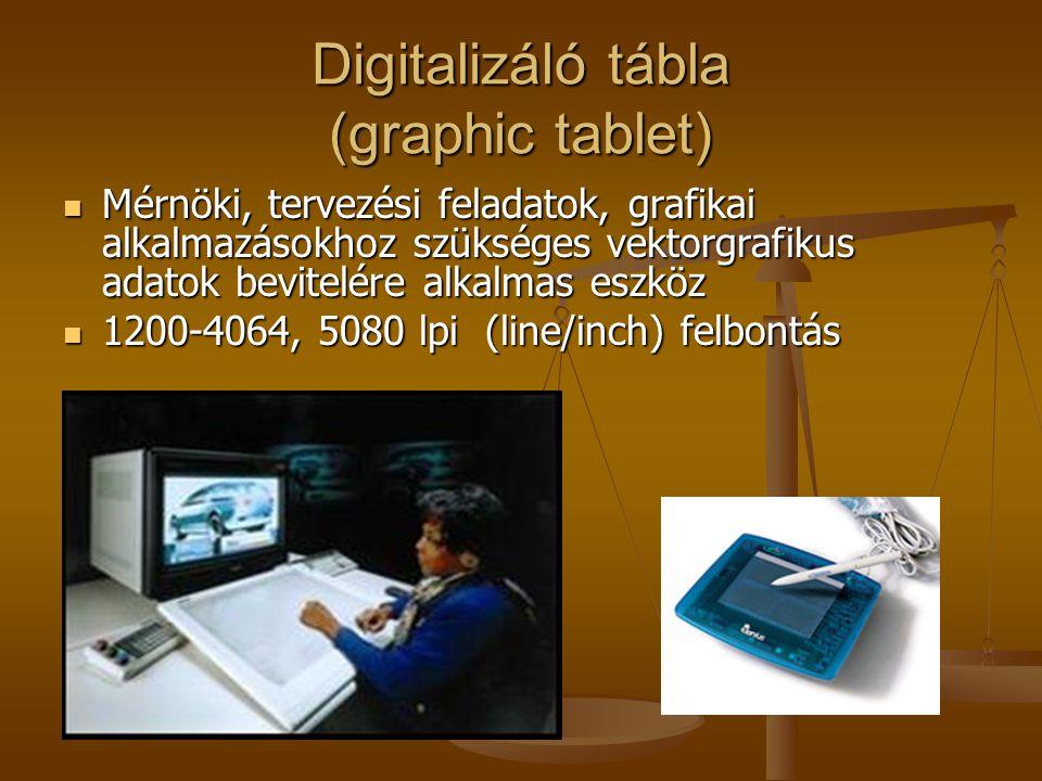 Digitalizáló tábla (graphic tablet) Mérnöki, tervezési feladatok, grafikai alkalmazásokhoz szükséges vektorgrafikus adatok bevitelére alkalmas eszköz