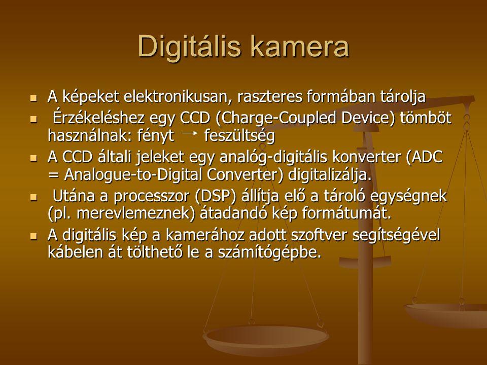 Digitális kamera A képeket elektronikusan, raszteres formában tárolja A képeket elektronikusan, raszteres formában tárolja Érzékeléshez egy CCD (Charg