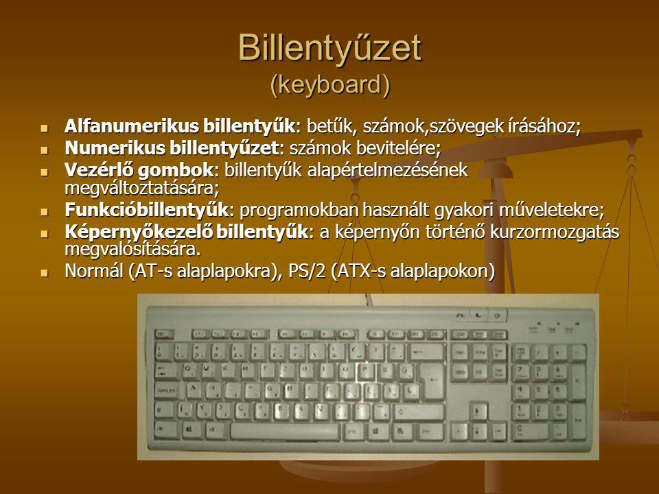 Billentyűzet (keyboard) Alfanumerikus billentyűk: betűk, számok,szövegek írásához; Alfanumerikus billentyűk: betűk, számok,szövegek írásához; Numeriku