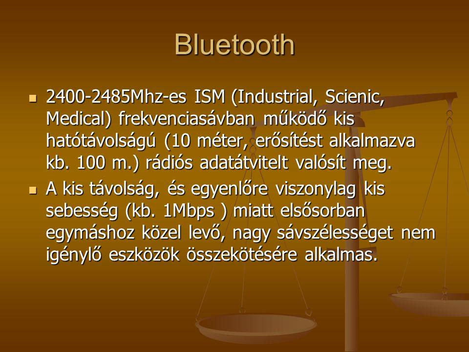 Bluetooth 2400-2485Mhz-es ISM (Industrial, Scienic, Medical) frekvenciasávban működő kis hatótávolságú (10 méter, erősítést alkalmazva kb. 100 m.) rád