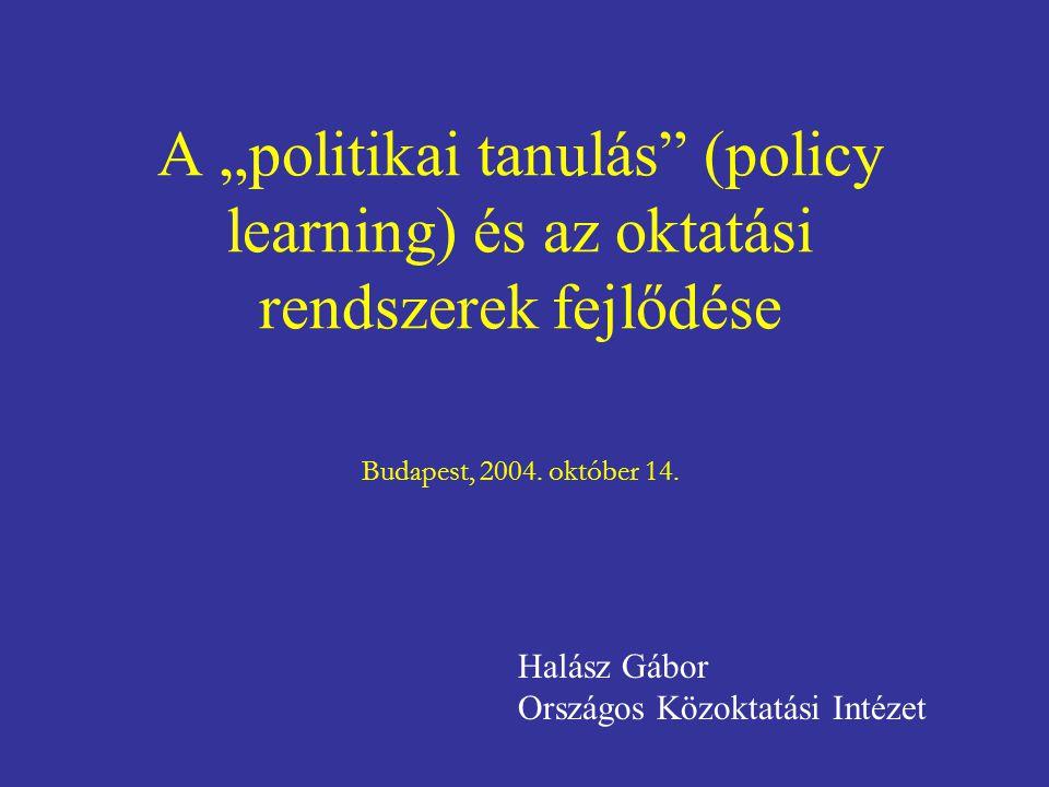 """A """"politikai tanulás (policy learning) és az oktatási rendszerek fejlődése Budapest, 2004."""