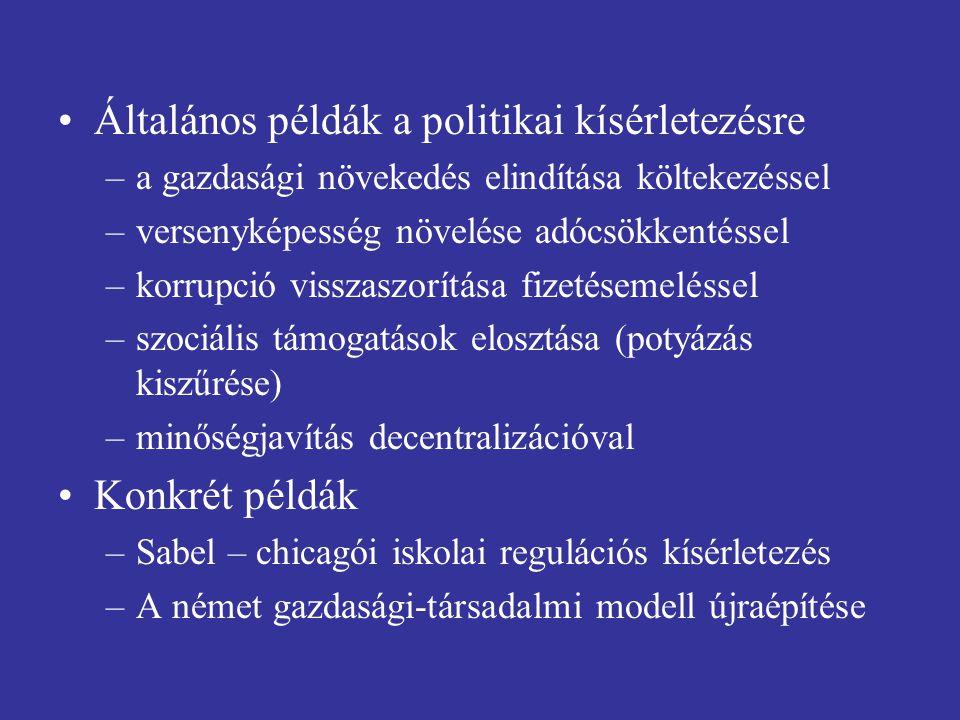 Általános példák a politikai kísérletezésre –a gazdasági növekedés elindítása költekezéssel –versenyképesség növelése adócsökkentéssel –korrupció visszaszorítása fizetésemeléssel –szociális támogatások elosztása (potyázás kiszűrése) –minőségjavítás decentralizációval Konkrét példák –Sabel – chicagói iskolai regulációs kísérletezés –A német gazdasági-társadalmi modell újraépítése