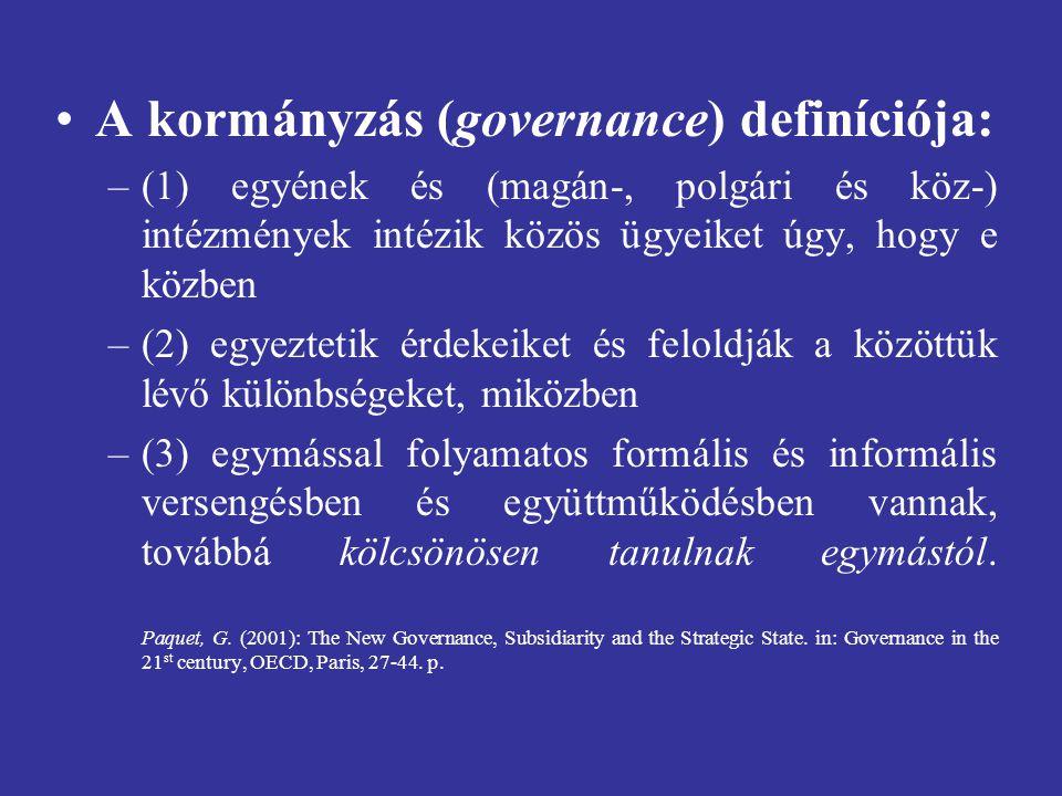 A kormányzás (governance) definíciója: –(1) egyének és (magán-, polgári és köz-) intézmények intézik közös ügyeiket úgy, hogy e közben –(2) egyeztetik érdekeiket és feloldják a közöttük lévő különbségeket, miközben –(3) egymással folyamatos formális és informális versengésben és együttműködésben vannak, továbbá kölcsönösen tanulnak egymástól.