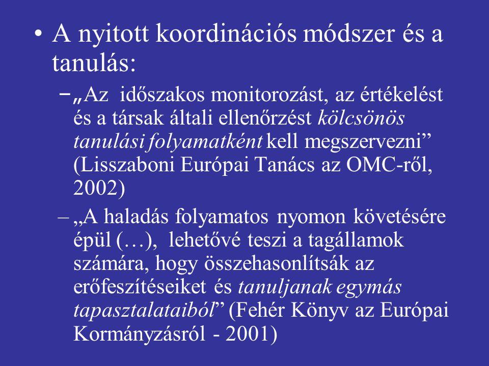 """A nyitott koordinációs módszer és a tanulás: –"""" Az időszakos monitorozást, az értékelést és a társak általi ellenőrzést kölcsönös tanulási folyamatként kell megszervezni (Lisszaboni Európai Tanács az OMC-ről, 2002) –""""A haladás folyamatos nyomon követésére épül (…), lehetővé teszi a tagállamok számára, hogy összehasonlítsák az erőfeszítéseiket és tanuljanak egymás tapasztalataiból (Fehér Könyv az Európai Kormányzásról - 2001)"""