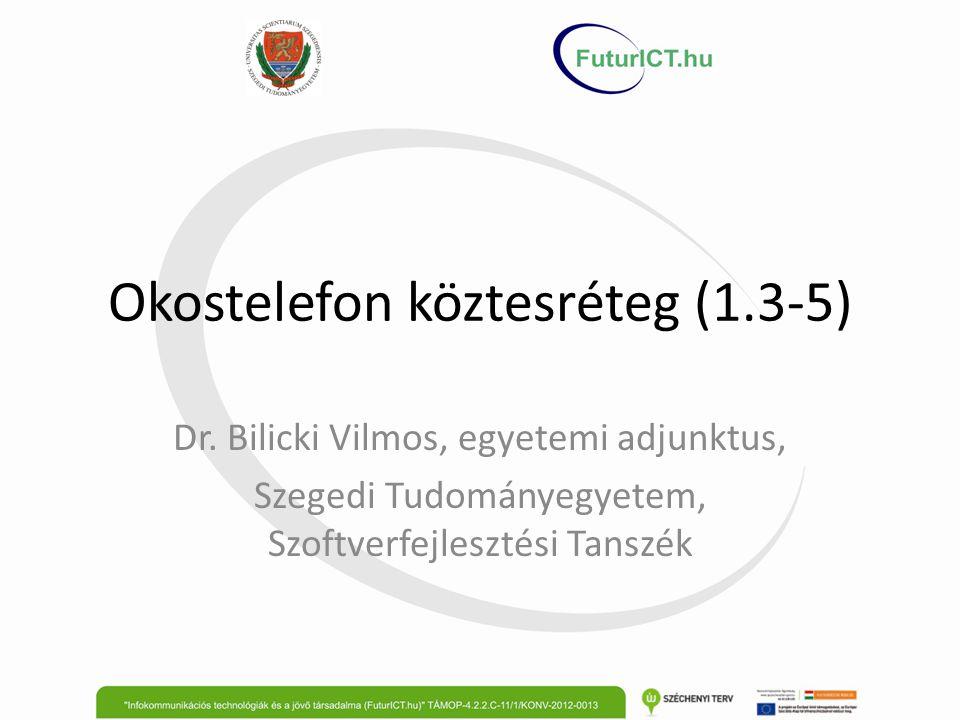 Okostelefon köztesréteg (1.3-5) Dr. Bilicki Vilmos, egyetemi adjunktus, Szegedi Tudományegyetem, Szoftverfejlesztési Tanszék