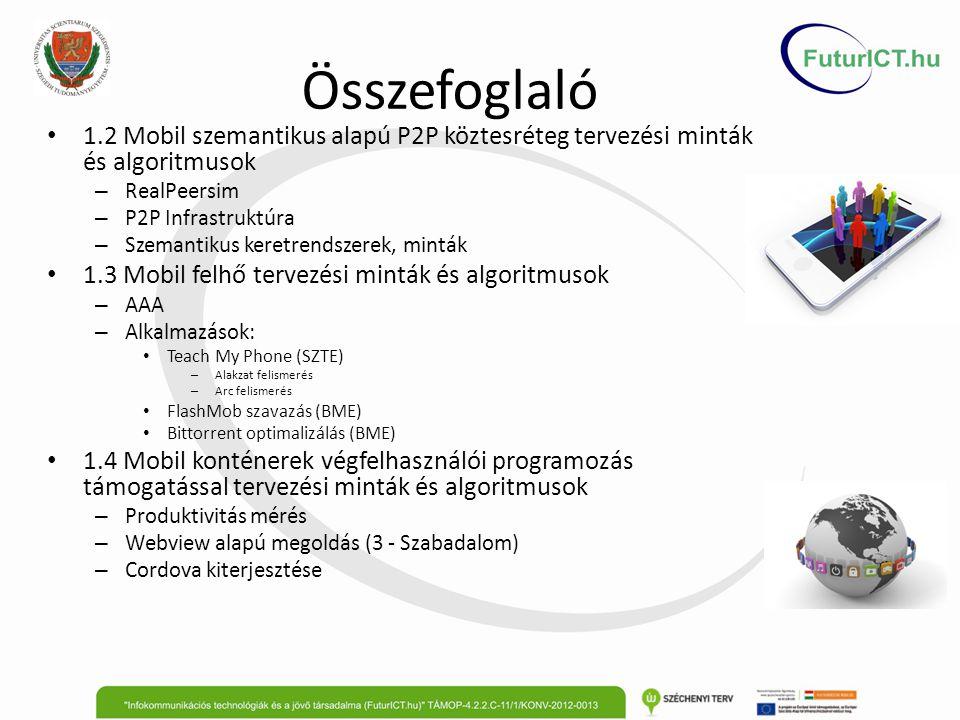 1.2 Mobil szemantikus alapú P2P köztesréteg tervezési minták és algoritmusok Általános P2P keretrendszer (RealPeerSim integráció) Cél: – Tetszőleges P2P algoritmust egyszerűen meg lehessen valósítani – Magas szinten meg lehessen adni a kontextusokat és a szabályokat Eredmény: – P2P algoritmus fejlesztés debug/elemzés PeerSim-mel – P2P algoritmus fejlesztés/debug virtuális telefon farmon (<160) P2P infrastruktúra: Cél: – Biztonságos, egyszerűen elérhető, központ mentes Eredmény: – Meglévő megoldások, technológiák áttekintése – Koncepció vázlat 2014.
