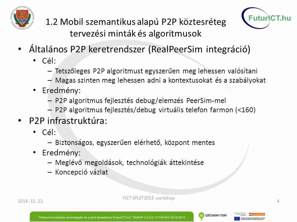 1.2 Mobil szemantikus alapú P2P köztesréteg tervezési minták és algoritmusok Általános P2P keretrendszer (RealPeerSim integráció) Cél: – Tetszőleges P