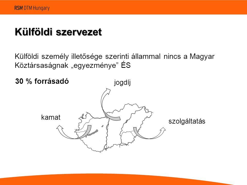"""Külföldi szervezet Külföldi személy illetősége szerinti állammal nincs a Magyar Köztársaságnak """"egyezménye ÉS jogdíj kamat szolgáltatás 30 % forrásadó"""