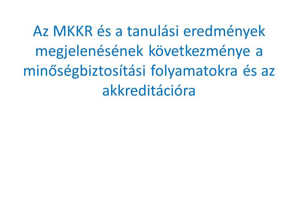 Az MKKR és a tanulási eredmények megjelenésének következménye a minőségbiztosítási folyamatokra és az akkreditációra