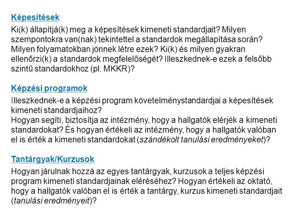 Képesítések Ki(k) állapítjá(k) meg a képesítések kimeneti standardjait.