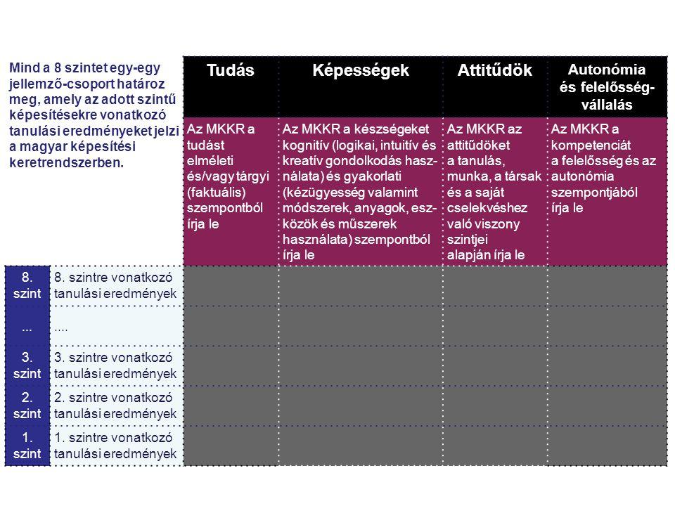 Mind a 8 szintet egy-egy jellemző-csoport határoz meg, amely az adott szintű képesítésekre vonatkozó tanulási eredményeket jelzi a magyar képesítési keretrendszerben.