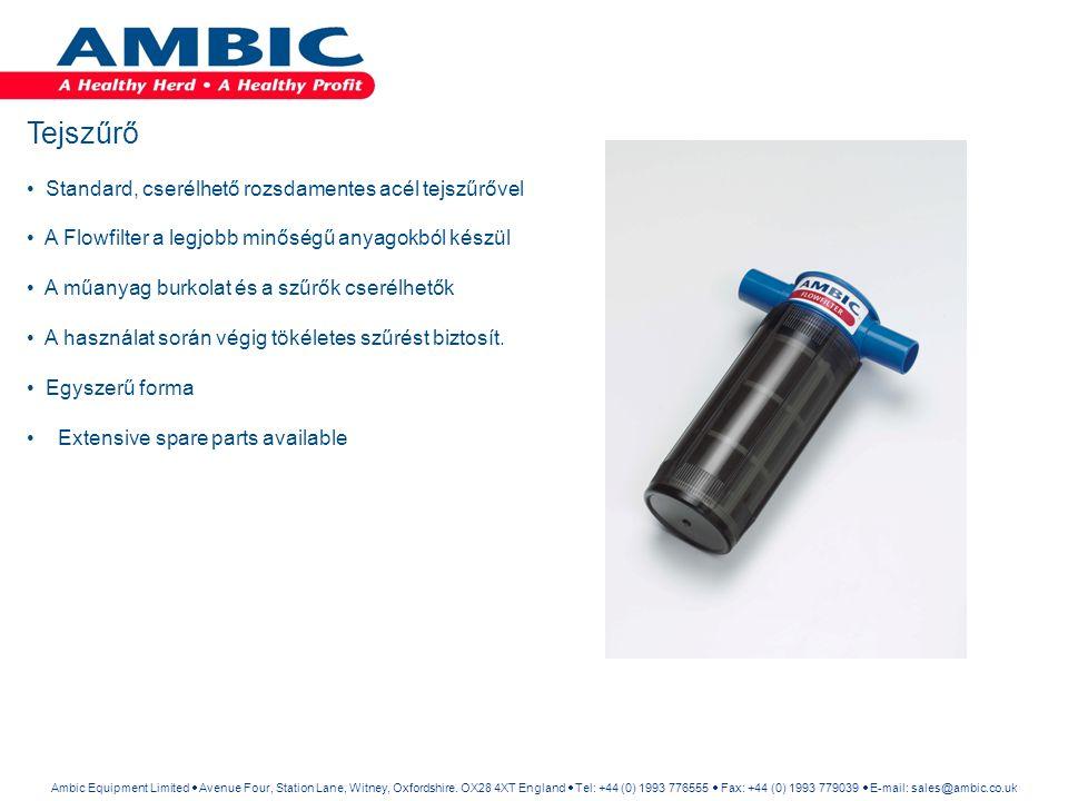 Iker tejszűrő berendezés Gyorsan és könnyen növelhető az Ambic Flowfilter teljesítménye 350-400 tehénre az iker szűrő használatával.