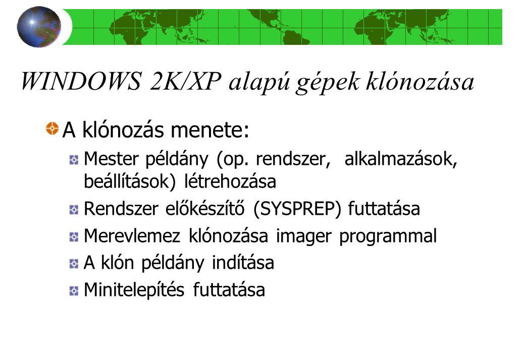 WINDOWS 2K/XP alapú gépek klónozása A klónozás menete: Mester példány (op.