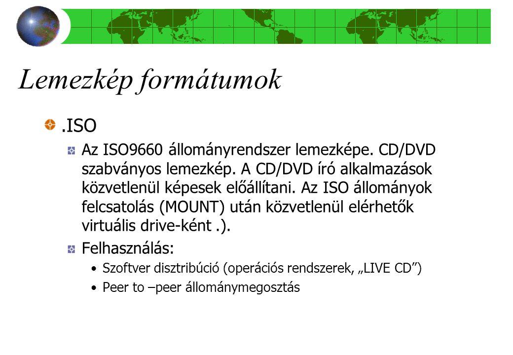 Lemezkép formátumok.ISO Az ISO9660 állományrendszer lemezképe.