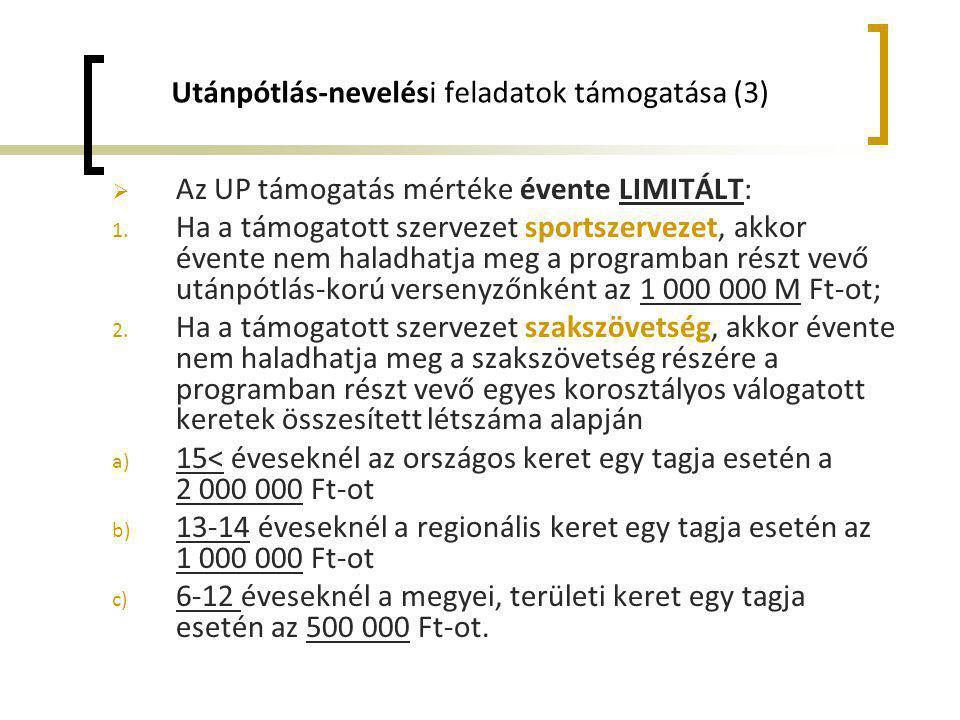 Utánpótlás-nevelési feladatok támogatása (3)  Az UP támogatás mértéke évente LIMITÁLT: 1. Ha a támogatott szervezet sportszervezet, akkor évente nem