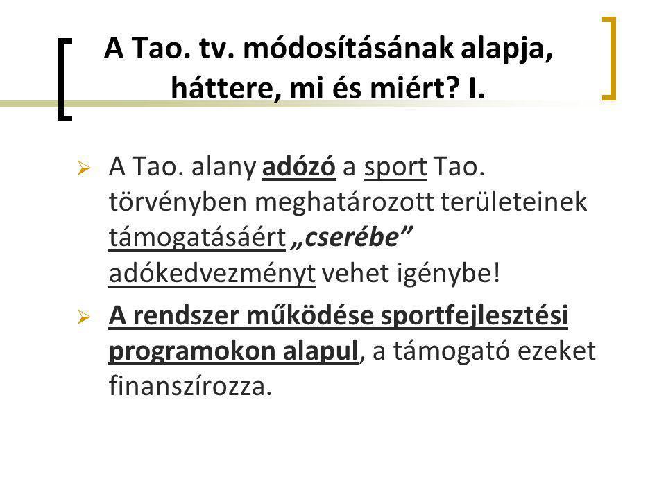 """A Tao. tv. módosításának alapja, háttere, mi és miért? I.  A Tao. alany adózó a sport Tao. törvényben meghatározott területeinek támogatásáért """"cseré"""