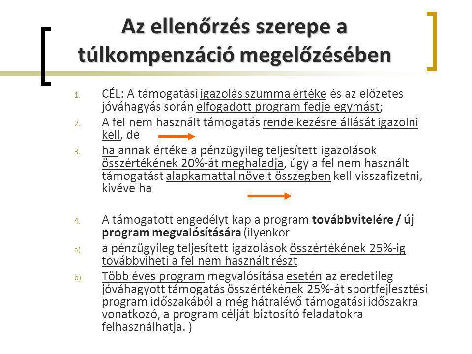 Az ellenőrzés szerepe a túlkompenzáció megelőzésében 1. CÉL: A támogatási igazolás szumma értéke és az előzetes jóváhagyás során elfogadott program fe