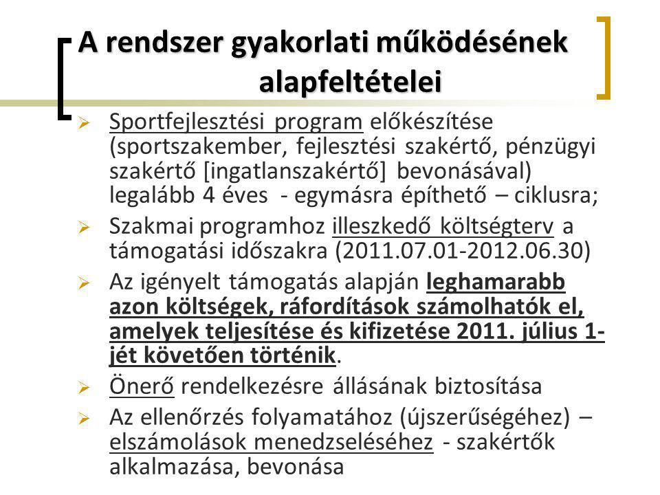 A rendszer gyakorlati működésének alapfeltételei  Sportfejlesztési program előkészítése (sportszakember, fejlesztési szakértő, pénzügyi szakértő [ing