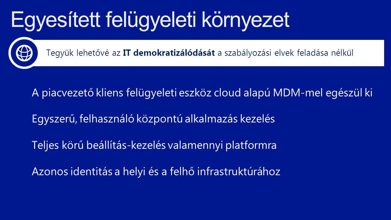 A piacvezető kliens felügyeleti eszköz cloud alapú MDM-mel egészül ki Egyszerű, felhasználó központú alkalmazás kezelés Teljes körű beállítás-kezelés valamennyi platformra Azonos identitás a helyi és a felhő infrastruktúrához Tegyük lehetővé az IT demokratizálódását a szabályozási elvek feladása nélkül