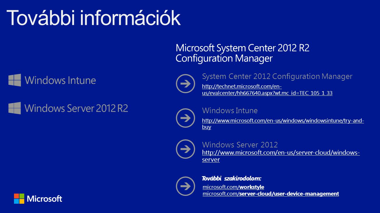 System Center 2012 Configuration Manager http://technet.microsoft.com/en- us/evalcenter/hh667640.aspx?wt.mc_id=TEC_105_1_33 Windows Intune http://www.microsoft.com/en-us/windows/windowsintune/try-and- buy Windows Server 2012 http://www.microsoft.com/en-us/server-cloud/windows- server microsoft.com/workstyle microsoft.com/server-cloud/user-device-management További szakirodolom: További információk