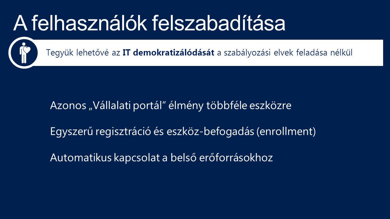"""Azonos """"Vállalati portál"""" élmény többféle eszközre Egyszerű regisztráció és eszköz-befogadás (enrollment) Automatikus kapcsolat a belső erőforrásokhoz"""