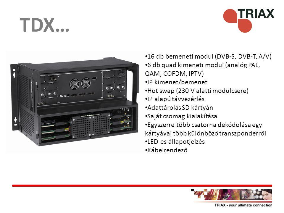 TDX… 16 db bemeneti modul (DVB-S, DVB-T, A/V) 6 db quad kimeneti modul (analóg PAL, QAM, COFDM, IPTV) IP kimenet/bemenet Hot swap (230 V alatti modulc