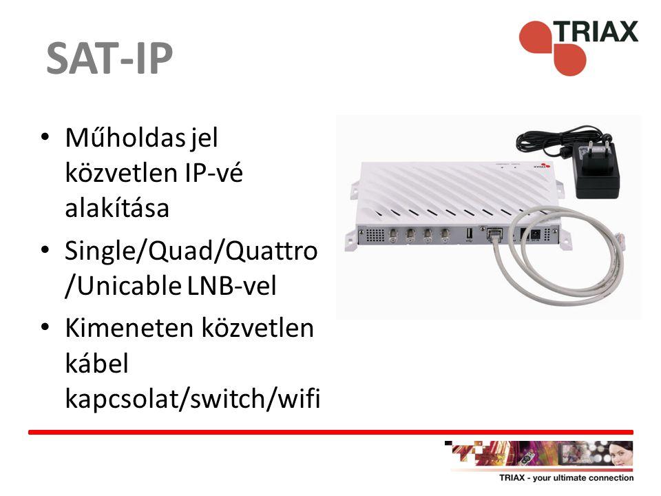 Műholdas jel közvetlen IP-vé alakítása Single/Quad/Quattro /Unicable LNB-vel Kimeneten közvetlen kábel kapcsolat/switch/wifi SAT-IP