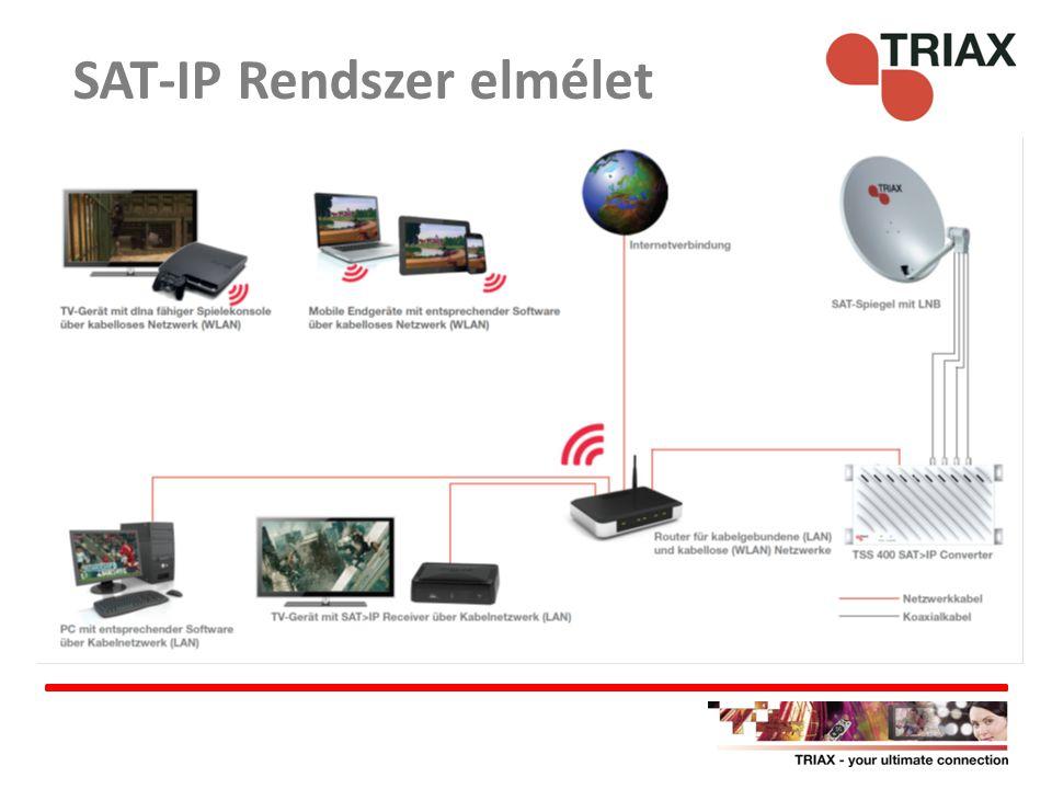 Előnyök: – Egyszerű, olcsó, meglévő hálózatba illeszthető – Nem igényel speciális vevőt Hátrányok: – Csak egy műhold – Csak FTA – Csak 4 eszköz szolgálható ki (4 tuneres) SAT-IP