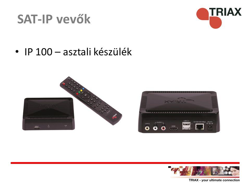 Hagyományos beltéri HDMI vagy RCA kimenet 3 USB csatlakozó – DLNA, médialejátszó, egyéb alkalmazások (YouTube) CEC - Consumer Electronics Control kompatibilis (HDMI-n keresztül összekötött eszközök vezérelhetik) Hálózati eszköz – IP címe van Tablettel/okostelefonnal vezérelhető SAT-IP vevők – IP 100