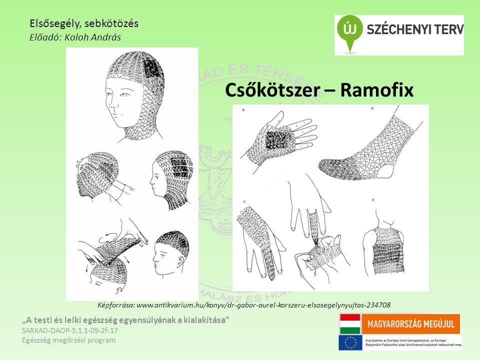 """Csőkötszer – Ramofix """"A testi és lelki egészség egyensúlyának a kialakítása SARKAD-DAOP-5.1.1-09-2f-17 Egészség megőrzési program Elsősegély, sebkötözés Előadó: Koloh András Képforrása: www.antikvarium.hu/konyv/dr-gabor-aurel-korszeru-elsosegelynyujtas-234708"""