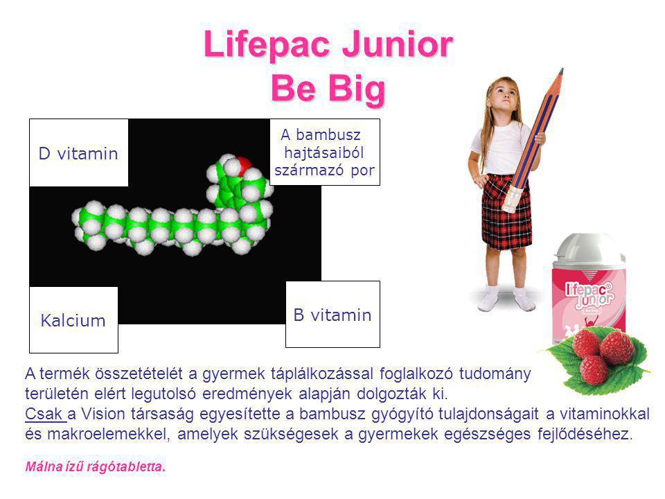 Lifepac Junior Be Big D vitamin Kalcium A bambusz hajtásaiból származó por B vitamin A termék összetételét a gyermek táplálkozással foglalkozó tudomány területén elért legutolsó eredmények alapján dolgozták ki.
