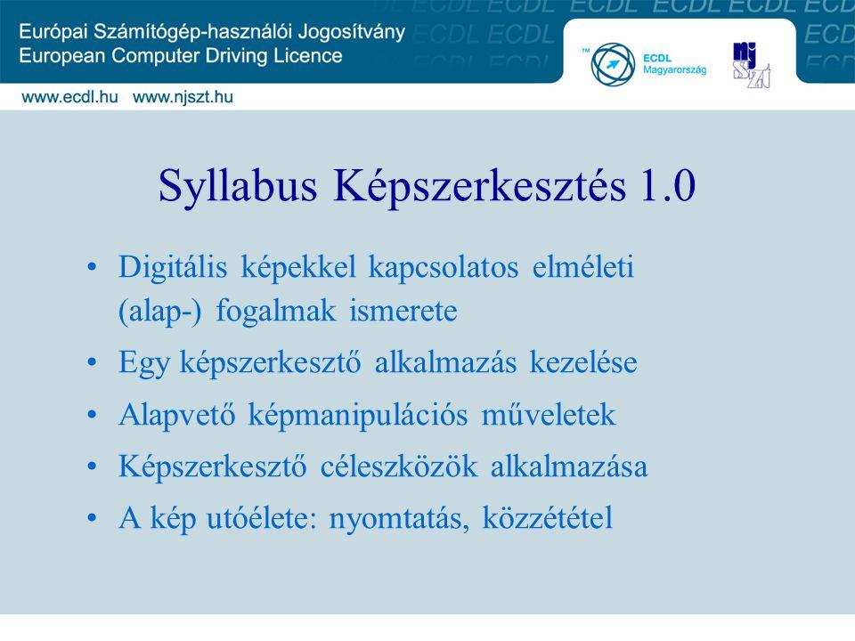 Syllabus Képszerkesztés 1.0 Digitális képekkel kapcsolatos elméleti (alap-) fogalmak ismerete Egy képszerkesztő alkalmazás kezelése Alapvető képmanipu