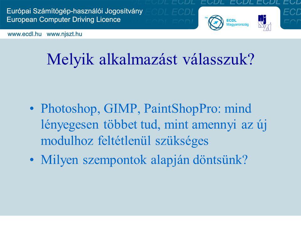 Melyik alkalmazást válasszuk? Photoshop, GIMP, PaintShopPro: mind lényegesen többet tud, mint amennyi az új modulhoz feltétlenül szükséges Milyen szem