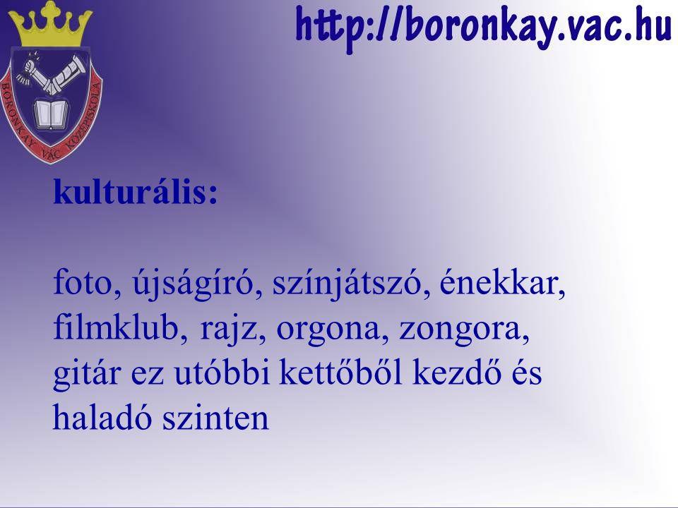nyelvi- és tantárgyi szakkörök: minden, iskolánkban oktatott tantárgyból és szakterületről, valamint egyebek, pl.